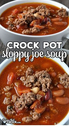 Crock Pot Sloppy Joe Soup – Recipes That Crock! I love this Crock Pot Sloppy Joe Soup recipe! It is not only different from anything I've had before, it is easy to make and so hearty and delicious! Beef Soup Recipes, Healthy Crockpot Recipes, Cooker Recipes, Crockpot Meals, Chicken Recipes, Recipes Dinner, Chili Soup Recipe, Easy Crockpot Soup, Healthy Food