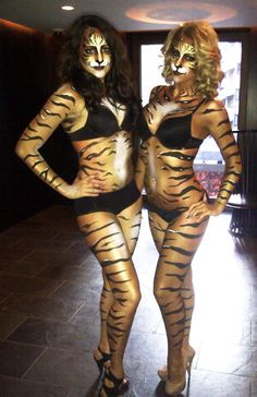 A tiger themed events for a private party today, Tigers on Stilts &Tiger body paint!