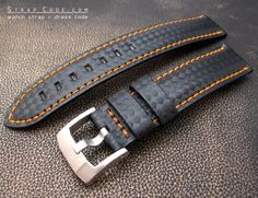 18mm Carbon Fiber Watch Band Orange Stitching
