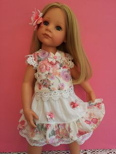 Floral dress, blouse and skirt with floral crown headband & peony hairgrip.  Lined with underskirts, lace, satin bows & velvet ribbon.