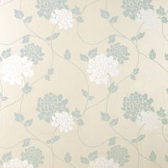 Isodore Duck Egg Floral Wallpaper