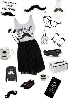 """""""For the Moustache Lovers!"""" by sarahsbusiness ❤ liked on Polyvore"""