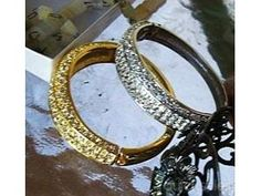 collected Hinged Cuff Bracelet Pave Rhinestones goldtone for sale | quicksales.com.au item 16847647