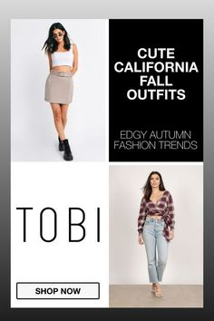 Cute California fall outfits and trendy autumn capsule wardrobe attire for women from TOBI. The best place to buy affordable trendsetting edgy clothing like these cute skirts and tops for ladies. Shop top fall fashion trends for teens, women, and juniors. #shoptobi #fallfashion #falltrends #falloutfits #autumnfashion #womensfashion #californiafashion #capsulewardrobe Autumn Fashion Women Fall Outfits, Fall Fashion Trends, Fashion 2017, Cute Dresses For Party, Club Party Dresses, California Fashion, California Style, Edgy Outfits, Fashion Outfits