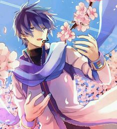 pixiv artist: 秋吉 discovered by sнιzυ-¢нαη Ƹ̵̡Ӝ̵̨̄Ʒ Vocaloid Kaito, Kaito Shion, Manga Anime, Anime Oc, Cherry Blossom Images, Cherry Blossoms, Mikuo, Character Development, Cute Anime Guys