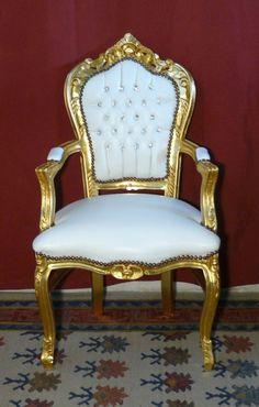 Poltrona struttura legno oro / similpelle bianco con strass
