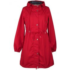 Aalborg Raincoat in Red (€145) ❤ liked on Polyvore featuring outerwear, coats, hooded rain coat, red rain coat, summer coat, red raincoat and red coat