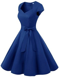 Dressystar Women Vintage Swing Cap Sleeevs Prom Dresses V Neck XS Royal Blue Cute Prom Dresses, Girls Formal Dresses, Elegant Dresses, Pretty Dresses, Homecoming Dresses, Beautiful Dresses, Short Dresses, Vintage Outfits, Vintage Dresses