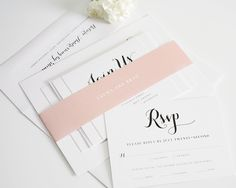 Invitations, Response Card, small enclosure, all wrapped with envelopes.  http://www.shineweddinginvitations.com/wedding-invitations/romantic-script-wedding-invitations