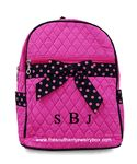 PERSONALIZED QUILTED BACKPACK - Monogrammed Hot Pink and Black Dotted Bag