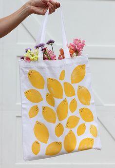 DIY Stamped Lemon Tote Bag