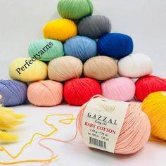 Crochet Yarn, Knitting Yarn, Baby Sport, My Etsy Shop, Throw Pillows, Handmade Gifts, Cotton, Yarns, Check