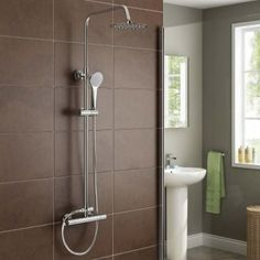 Our exposed shower kits look slick and elegant, consisting of an exposed shower valve, riser rail, shower arms and hand held shower for a powerful impact. Brushed Steel Kitchen Taps, Basin Sink Bathroom, Space Saving Bathroom, Shower Set, Shower Valve, Sink Taps, Digital Showers, Sink, Bathroom