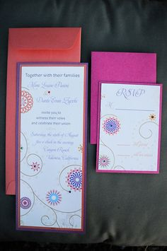 pink and red invitation.