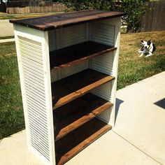 Upcycling shutters into a bookcase! Habitat for Humanity has shutters and wood. These are easy to make & you can add front doors as well and a nicer base and top with moldings. Furniture Projects, Furniture Makeover, Home Projects, Diy Furniture, Furniture Design, Old Shutters, Window Shutters, Repurposed Shutters, Wooden Shutters