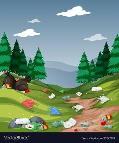 Pollution in the national park vector image on VectorStock Environment Painting, Save Environment, Painting For Kids, Art For Kids, Save Water Drawing, Picture Comprehension, Sequencing Pictures, Speech Therapy Games, Islam For Kids