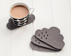 Cloud Felt Coaster set with punched rain detail -  100% 4mm grey thick wool felt, set of 4