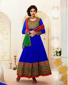 Blue georgette anarkali suit   1. Blue georgette anarkali suit2. Thread floral embroidered yoke 3. Blue flare with broad embroidered border4. Comes with matching bottom and dupatta 5. Can be stitched upto size 44 inches