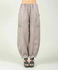 Another great find on #zulily! Beige Linen Wide-Leg Pants - Plus Too #zulilyfinds