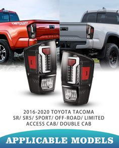 Tail lights fit for 2016-2020 Toyota Tacoma. Tail lights are sold in a pair: include left side (driver side) and right side (passenger side). There are four kinds of lights: Turn Signal, LED running light, reverse light and brake light. Stylish lighting gives your car a fashion look and adds a nice touch. Easy Installation DOT/SAE Compliance Led Tail Lights, Fashion Lighting, Toyota Tacoma, Light Fittings, Car, Fitness, Touch, Running, Automobile