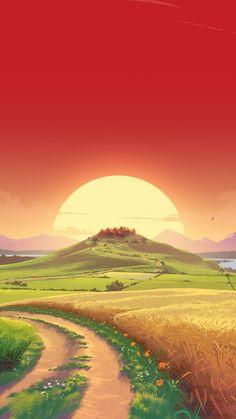 Fantasy dream Landscape pathway hill and sun sunset art wallpaper Scenery Wallpaper, Landscape Wallpaper, Landscape Art, Wallpaper Backgrounds, Landscape Paintings, Sunrise Landscape, Sunset Wallpaper, Landscape Photography, Hd Nature Wallpapers