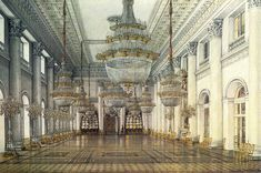 The Nicholas Hall (6 on plan) is the principal reception room, at the centre of the Neva enfilade. This room was the setting for court balls. Painting by Konstantin Ukhtomsky[24]