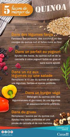 Énergisez vos déjeuners, dîners ou soupers en ajoutant du quinoa dans un parfait au yogourt, des légumes farcis, des salades, du gruau ou des burgers végé. Consultez les recettes et les conseils pour bien apprêter le quinoa : http://www.canadiensensante.gc.ca/eating-nutrition/healthy-eating-saine-alimentation/tips-conseils/recipes-recettes/quinoa-salad-salade-quinoa-fra.php