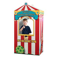 Our exclusive Carnival Ticket Booth Stand features classic red and white stripes along with your personalization above the ticket window. Made of cardboard.