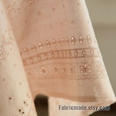 Light Orange Pink Lace Fabric, Eyelet Fabric, Eyelet Embroidery 100% Linen Lace - Fabric by Yard 1/2 yard via Etsy