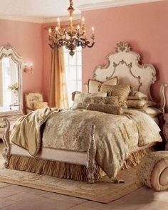 Beautiful Bedrooms For Dreamy Design Inspiration: Beautiful Romantic Bedroom Furniture Dream Rooms, Dream Bedroom, Home Bedroom, Bedroom Furniture, Master Bedroom, Bedroom Ideas, Bedroom Colors, Bedroom Designs, Baroque Bedroom
