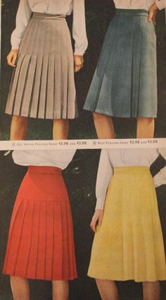 Women's skirts include the A-line skirt, pleated skirt, peasant dirndl skirt, straight pencil skirt and swing skirt in solid, plaid or stripes. 1940s Fashion Women, Retro Fashion, Vintage Fashion, Womens Fashion, Edwardian Fashion, Vintage Outfits, Vintage Dresses, Vintage Clothing, 40s Mode