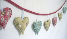Hanging hearts garland, bunting, hearts,shabby chic, girls, gift, womens, engagement, wedding, valentine