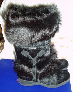 TECNICA SKANDIA Women's Cowhide Boots with Goat Fur Trim Black - ITALIAN Retro - Free Shipping. $275.00, via Etsy.