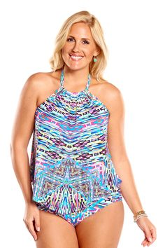 Kenneth Cole Hot To Trot Plus Size Tankini Top