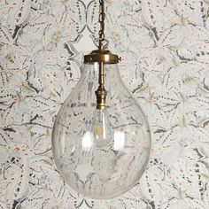 There is a supreme piece of glasswork. Topped with beautiful, buttery brass fittings, it has an almost fluid feel to it and with the right bulb, is just stunning. Glass Pendant Light, Pendant Light Fixtures, Lantern Pendant, Stair Lighting, Shop Lighting, Hallway Lighting, Kitchen Lighting, Lighting Ideas, Bathroom Lighting
