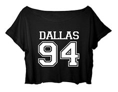 Women's Crop Top Cameron Dallas T-Shirt Sport Dallas 94 Cropped Shirt (Black)