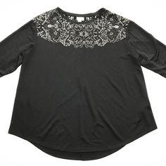 Ava & Viv Women's Black Burnout Long Sleeve Sparkle Blouse Top Work Casual SZ 1X #AvaViv #Blouse #Casual
