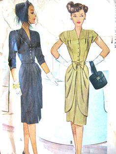 Vintage 1940s McCall 6677 dress pattern.   Bust  32 by Fancywork, $18.00