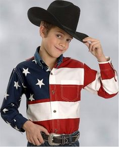 "Boy's ""Only in America"" American Flag Shirt"