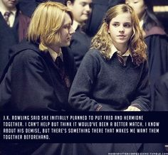 harry potter confessions., J.K. Rowling said she initially planned to put... I think it might work because she could balance his cray crayness but then not really because she would rein him in a little too much but he needs someone to just be crazy with.