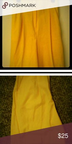 Yellow linen long shorts Stunning yellow shorts are perfect for walking shorts. They are longer and look fresh and airy.  Shorts have slash pockets and a cuffed bottom with an elastic waist in the back and a strait front waistline with pleated front. Super sharp! Shorts Bermudas