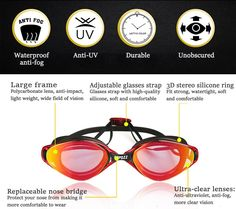 Copozz Summer HD Plating Goggles Swimming Glasses Flat Light Waterproof Silicone Anti-fog Anti-UV Diving
