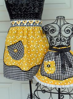 Mother Daughter Bee Happy Half Apron Set. $30.00, via Etsy.