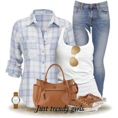 casual checked shirt, Cowboy checked shirts with denims http://www.justtrendygirls.com/cowboy-checked-shirts-with-denims/