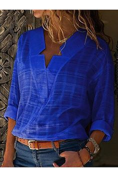 women v-neck sexy long sleeve fall winter blouse fashion 2020 female ladies clothing womens top shirt top Winter Blouses, White V Necks, V Neck Blouse, Blue Blouse, Business Attire, Blouse Styles, Mode Style, Casual Tops, Trendy Tops