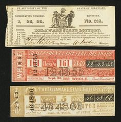 Delaware Lottery Tickets- Three Examples: Wilmington, DE- Delaware State Lottery for the Completion of St. Peter's Church July 1823 Wilmington, DE- Sussex County Lottery of Delaware Sep. State Lottery, Lottery Tickets, Delaware State, Sussex County, Auction, Notes, Vintage Graphic, Stationary, Bullet Journal