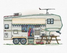 Cute RV Vintage Fifth Wheel Camper Travel Trailer Decal For Laptop cabin gifts, crafts gifts, camping ideas clever 5th Wheel Camper, Fifth Wheel Campers, Fifth Wheel Trailers, Old Campers, Happy Campers, Vintage Caravan Interiors, Vintage Trailers, Recreational Vehicles, Whimsical