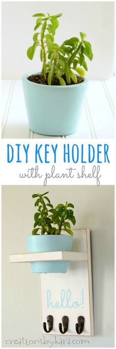 Instructions for making a cute and functional Key Holder with Plant Shelf and cement planter. #diy #organize