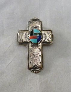 CAROLYN POLLACK STERLING SILVER TURQUOISE LAPIS INLAY SOUTHWEST USA PENDANT PIN