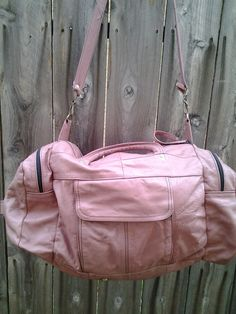 Pink Leather Duffle Bag by RestoredRust on Etsy